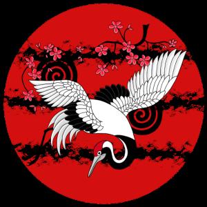 Rising Sun Kranich Kirschblüten Japanische Kunst