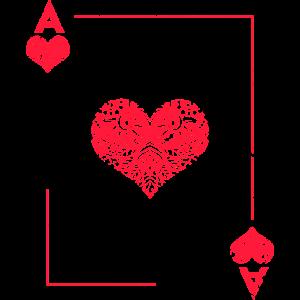 Herz Ass Poker Karte Halloween Kostüm lustig
