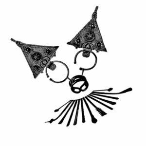 Bijoux d' argent en forme d'une tête de chat