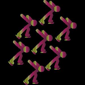 Eisläufer in einer Gruppe, toller Farbverlauf