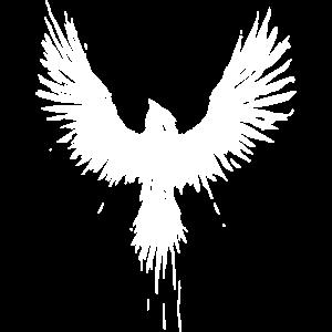 weiße Krähe, weißer Vogel, Grunge/Vintage