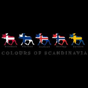 COLOURS OF SCANDINAVIA Elche mit Flaggen