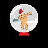 Lebkuchen-Mann, der in einem Schnee-Kugel-Weihnachten taucht