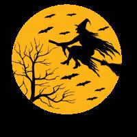Hexe Besen Fledermäuse Halloween
