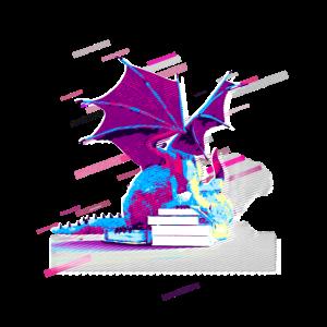 Drachen magische 80er Retro Violett