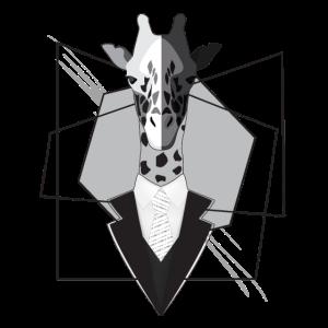 Giraffe im Anzug