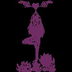 Yogagirl in Baum Asana mit Blumen und Herz