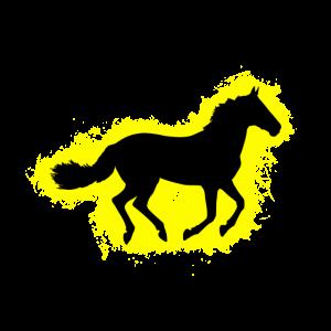 Pferd Tier Gelb und Schwarz Umriss