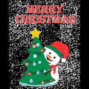 Schneemann Frohe Weihnachten Christbaum Tanne