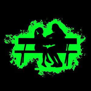 Silhouette Kind Grün und Schwarz Umriss