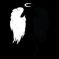 Engelsflügel Engel Teufel T-Shirt Geschenk Frau