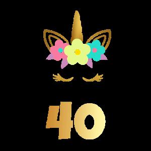 40 Jahre Einhorn goldener Geburtstag Geschenk