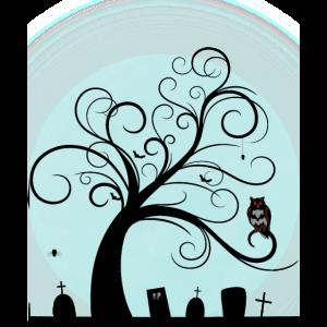 Friedhof im Mondschein Halloween Motiv