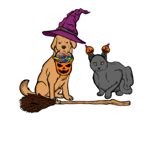 Halloween Hund & Katze Hexe Tierfreunde