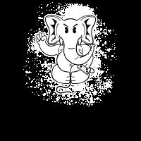 Elefant Tier Gaming Zocker old school Cartoon