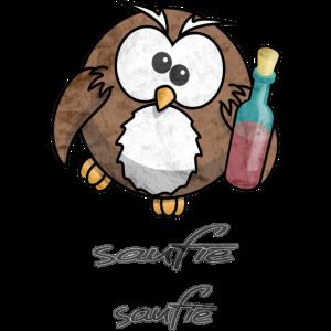 Eule Saufie Saufie Saufen Trinken Party Geschenk