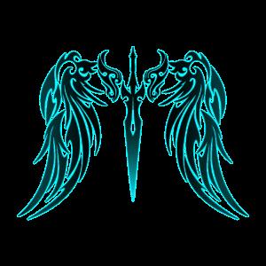 Tribal Tattoo Engelsflügel blau