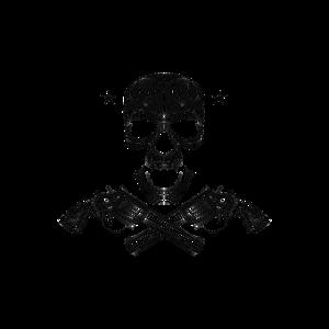 Totenkopf mit Revolver
