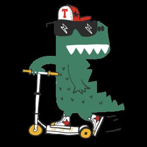 Skater Roller Dino Krokodil Drache Cool T-Shirt