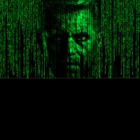 Matrix Kopf Head green grün leuchtend Code