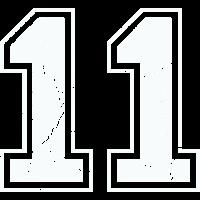 11 in weiß im Vintage-Look
