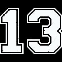 13 in weiß im Vintage-Look