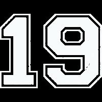 19 in weiß im Vintage-Look