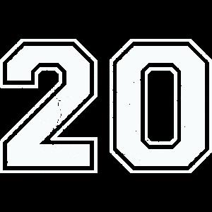 20 in weiß im Vintage-Look