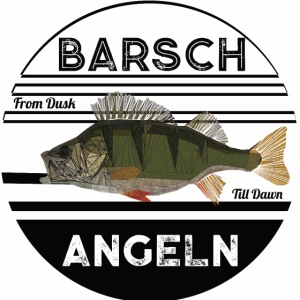 Retro Barsch angeln Schwarz