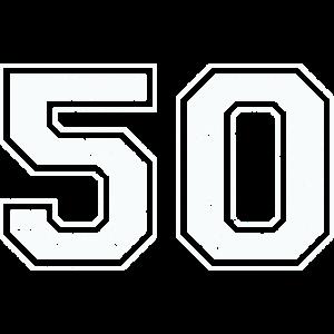 50 in weiß im Vintage-Look
