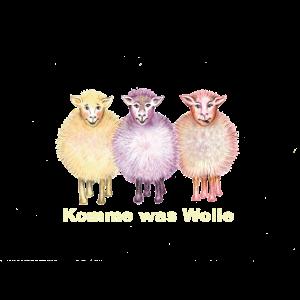 """Drei Schafe """"Komme was Wolle"""" gelb"""