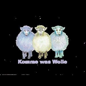 """Drei Schafe """"Komme was Wolle"""" blau"""
