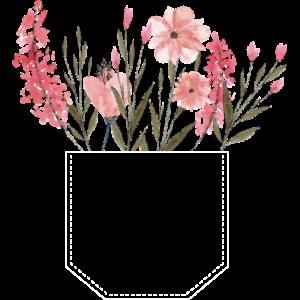 Brusttasche Blumen rosa Geschenk Idee