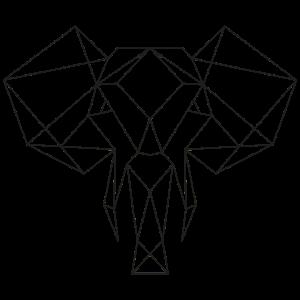 Minimalistisch Tierkopf Line-Art Elefant
