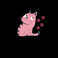 Lustig Katze Rosa Pfoten Geschenk Katzennarr