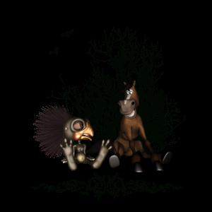 Freunde Lustiger Vogel und Pferd