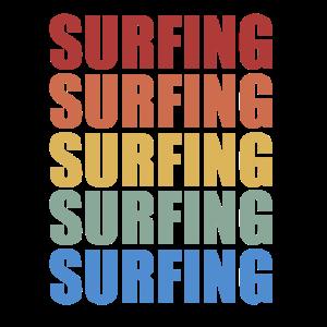 Vintage Retro Style Surfing
