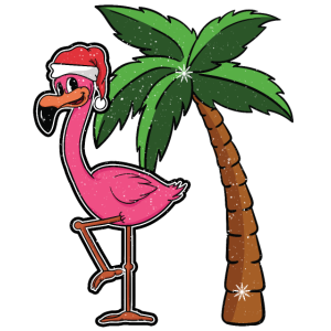 Flamingo Weihnachten Palme Schnee Geschenk