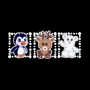Eisbär, Pinguin + Rentier kind comic baby geschenk