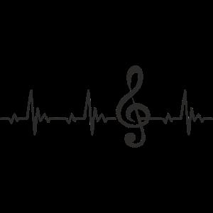 Notenschlüssel Violinschlüssel Heartbeat Puls EKG