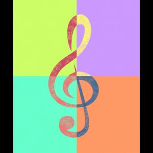 Notenschlüssel Violinschlüssel Pop-Art Retro Used
