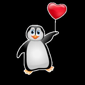 Pinguin Herz Luftballon Geschenk Liebe