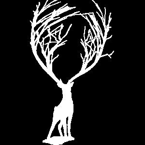 der weiße Hirsch mit dem Baum - Geweih