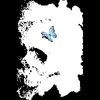 Totenschädel und Schmetterling