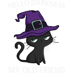 Funny Cat Halloween - hello darkness my old friend