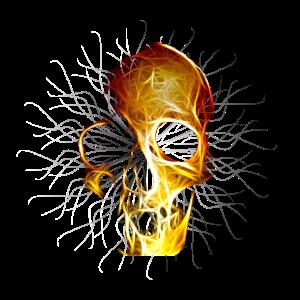 Totenkopf Gold mit Fäden