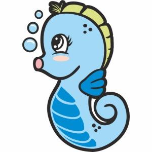 Seepferdchen blau