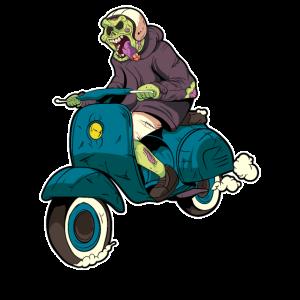 Halloween Rollerfahrer Motorroller Zombie Geschenk