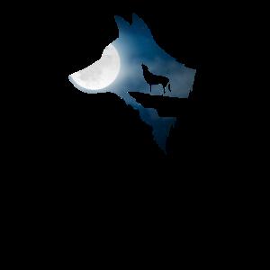 Wolf Hund Mond Silhouette Nacht Himmel Geschenk