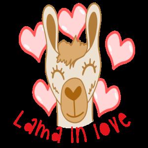 Lama Liebe Love Verliebt Kulttier Alpaka Geschenk